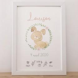 Affiche de naissance Lapin