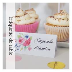 Etiquette de table Flower Gold