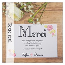 Carte de remerciements (texte seul) Mariage